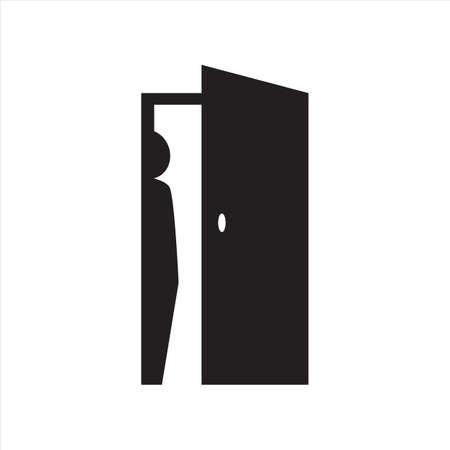 Personenlogo-Design-Silhouette von Menschen ausblenden, die sich auf der Rückseite der Türsymbol-Vektorillustration verstecken
