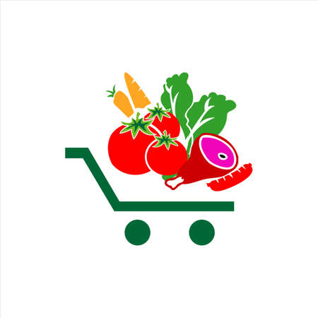 vegetables on shopping cart grocery logo icon design symbol vector