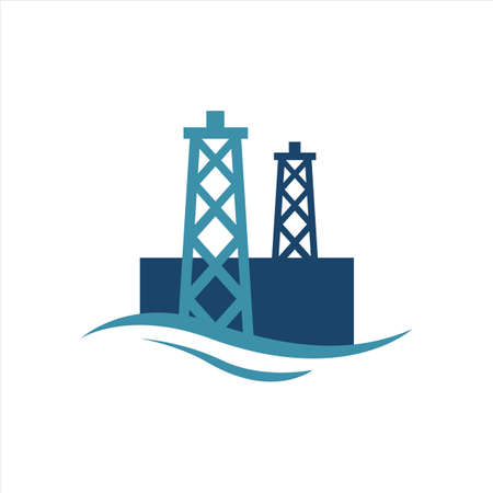 off shore oil rig logo icon design vector drilling in the sea template isolated