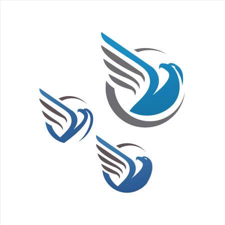 blue hawk falcon eagle vector Logo design icon illustration Template