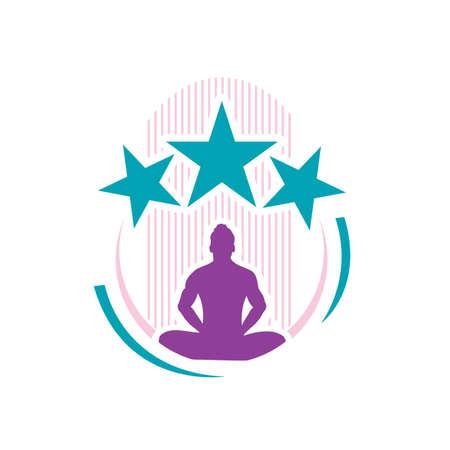 people sit in calm pose meditation logo design vector illustration Foto de archivo - 138184058