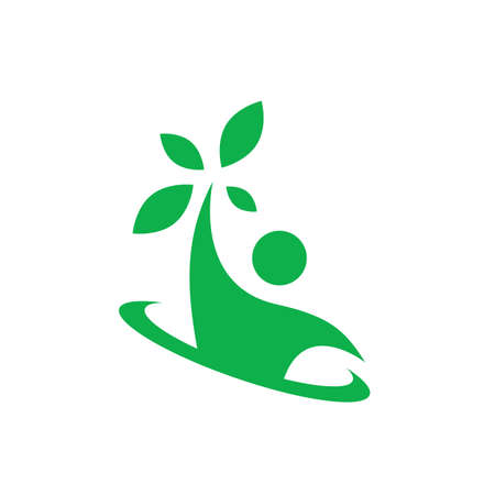 nature and healthy people nutrition logo design vector icon illustration