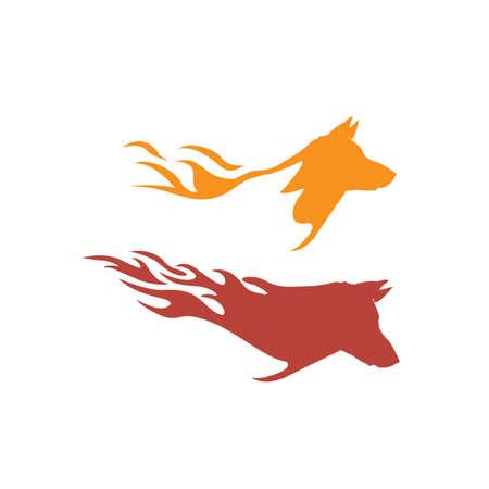 simple powerfull fire dog logo design vector branding template