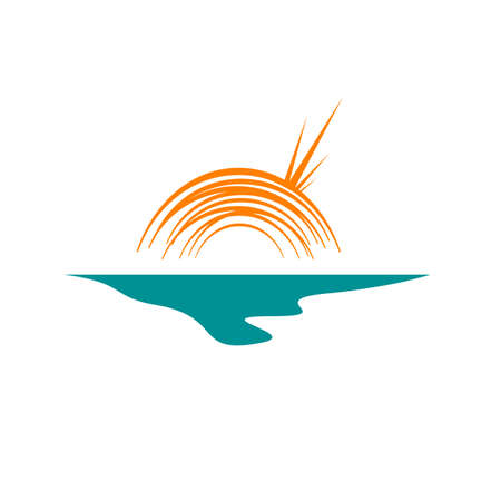 abstract sunset logo design vector of yellow sun and blue sea waves illustration