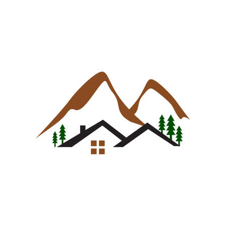 cabin in the woods logo design with mountain and tree vector illustrations Banque d'images - 138184421