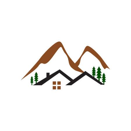 cabina nel bosco logo design con illustrazioni vettoriali di montagne e alberi