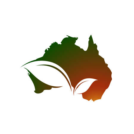 Australian Map and leaf for eco green australia logo design vector icon illustration