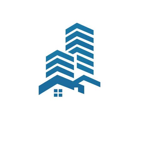 Modern creative idea of square line art building logo design vector