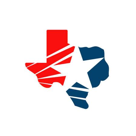 star texas mappa logo design vettore in blu e rosso bandiere color