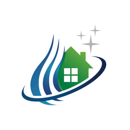 home house cleaning logo design with water and shine symbol icon vector template