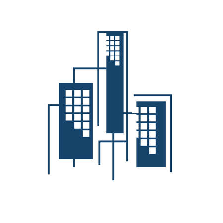 new colorful realty skyline building logo design vector graphic modern style