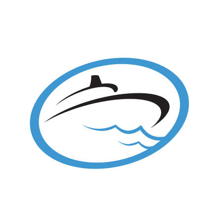 sailing yacht ship boat logo design on the water ocean wave  vector concept