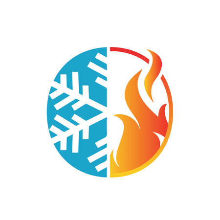 hvac heating and cooling logo for air conditioning brand or repair business company
