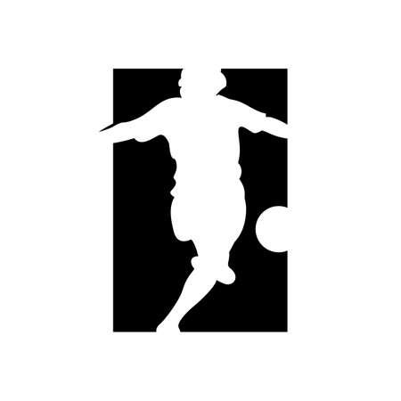 shoot kicking ball logo for brand of football soccer player logo designs