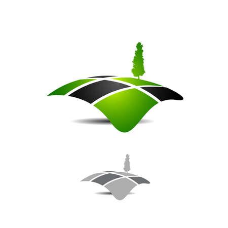 creative graphic concept miniature landscape logo vector company Illustration