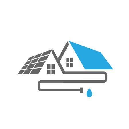 Haus Außenrohr Installation Hausdach Dachrinne Logo Design Vektor Vorlage