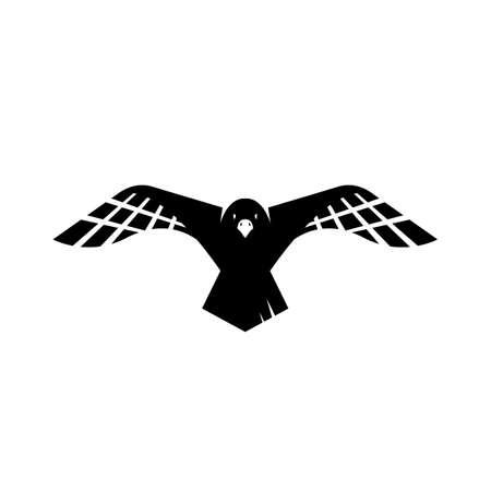flying black crow raven logo design vector sign illustrations