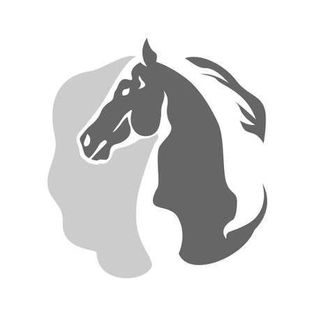 abstract horse head logo vector on negative space style logotype