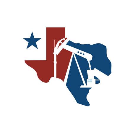 vector map of texas oil rig logo design illustration Logo