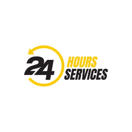 24 hour service vector icon. Standby 24/7 sign day/night services button symbol