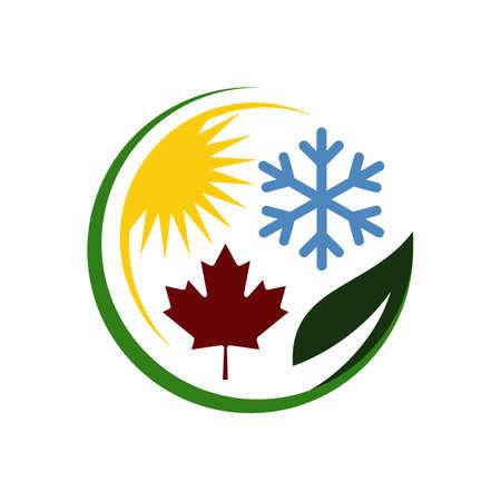 4 four seasons logo design vector with symbol of Winter Spring Summer Autumn sign element Иллюстрация