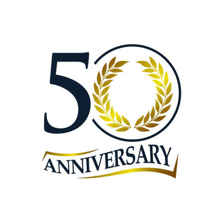 50th anniversary vector logo illustration. 50 years golden anniversary celebration logotype with number and ribbon. Fivety years celebration event sign symbol Иллюстрация