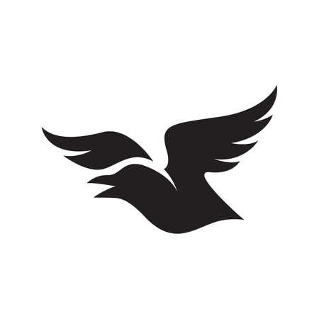 simple black crow raven logo design vector sign illustrations Иллюстрация
