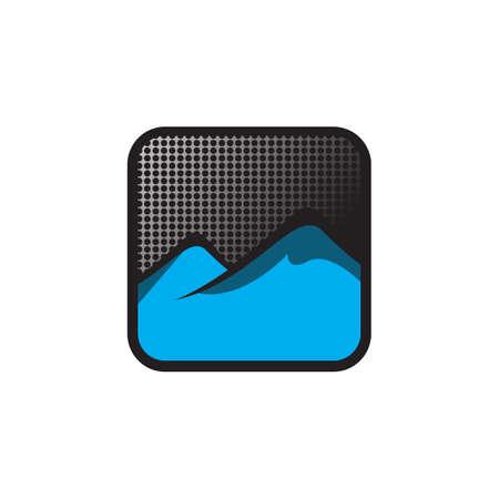 Modern button symbol mountain logo vector design illustration