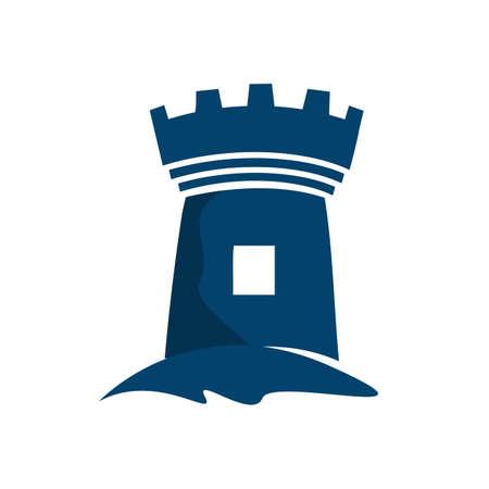Custom Blue Castle Fortress logo vector design icon template