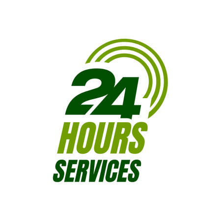 24 hour service logo vector icon. Standby 247 sign daynight services button symbol