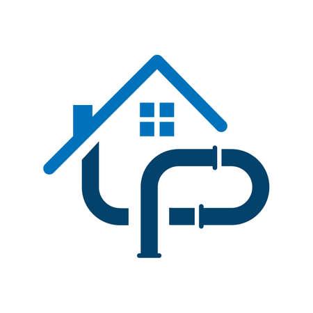 home pipe installation plumbing logo design vector symbol illustration