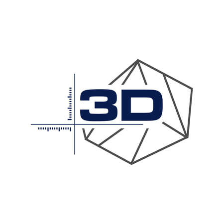 Abstract 3d modeling polygonal wireframe logo vector geometric shape design element Иллюстрация