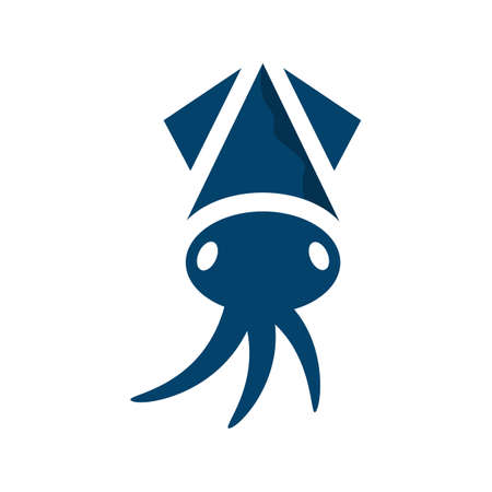 blue squid logo design sea life vector illustrations