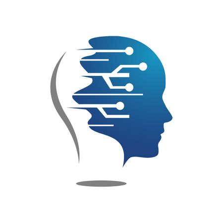 Artificial intelligence logo vector design circuits electronics and human head symbol template Иллюстрация