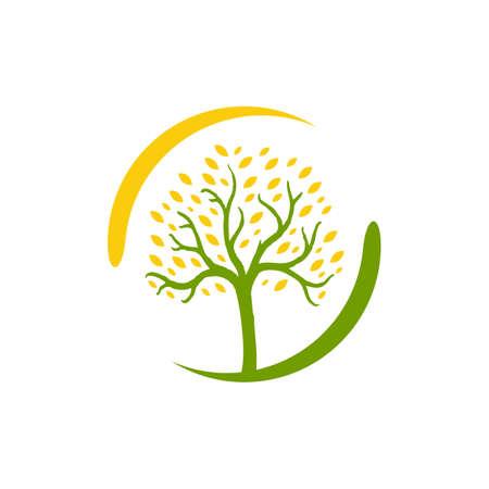 green leaf tree logo vector design nature graphics element Иллюстрация