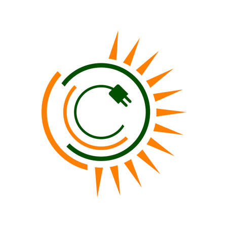 sun and roof design template solar power logo vector icon illustration