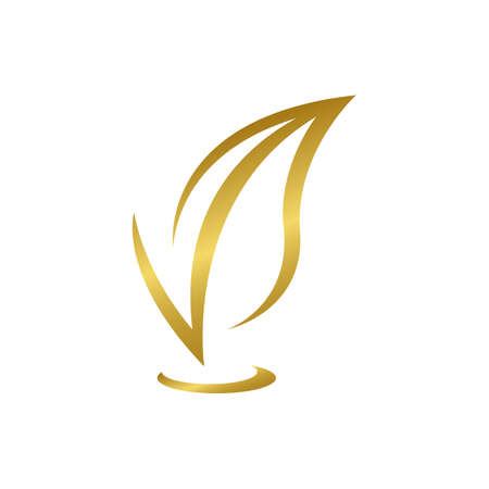 V gold leaf Logo Design. Great Logo Leters Icon Vector Design