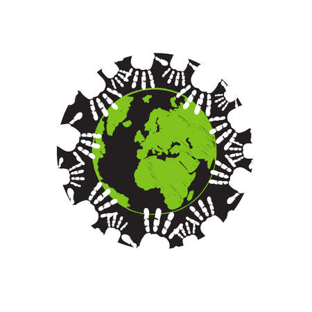 some of hands holding earth togheter people community logo design vector illustrations