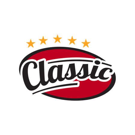 special custom five stars classic lettering logo icon vector template illustrations Иллюстрация