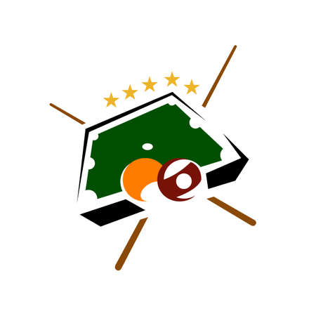 table ball and sticks billiard logo design vector symbol illustration