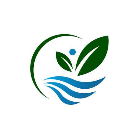 green blue leaf and pure water logo design vector symbol illustrations Иллюстрация