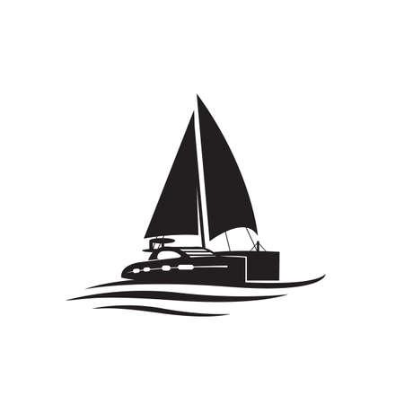 simple custom ship boat yacht sailing logo design vector illustrations
