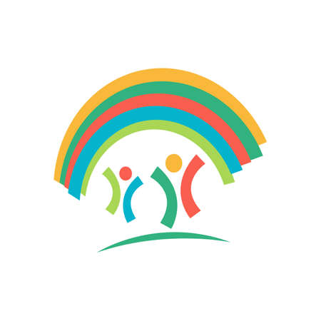 kindergarten with rainbow and kids logo vector icon design illustrations