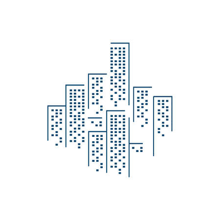 stylish line buildings skyline logo vector design symbol illustration