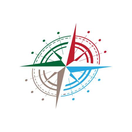 colorful shear flat creative compass logo vector concept design template Иллюстрация