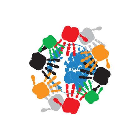 some of hands holding earth togheter people community logo design vector illustrations Иллюстрация