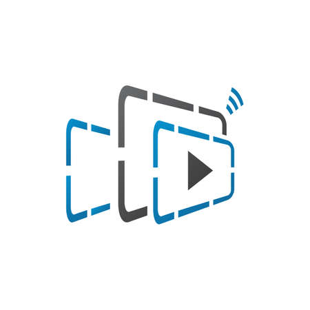 online video streaming logo. film production company vector illustratio Иллюстрация