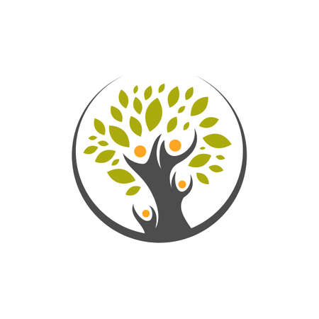 creative concept of human tree family Logo icon vector illustrations