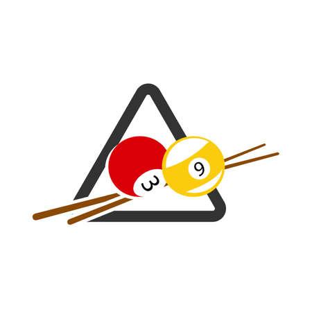 table ball and sticks billiard logo design vector symbol illustration 矢量图像