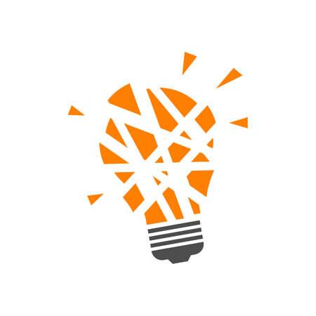 cracked light bulb logo design. simple vector illustrations